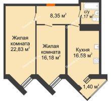 2 комнатная квартира 69,5 м² в ЖК Империал, дом Литер 9 - планировка