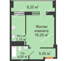 1 комнатная квартира 34,9 м², ЖК Вершина - планировка