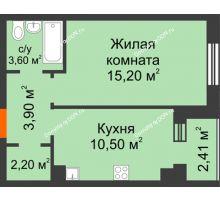 1 комнатная квартира 36,3 м² в Микрорайон Прибрежный, дом № 8 - планировка