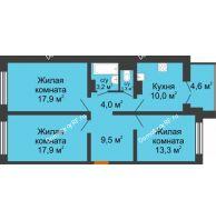 3 комнатная квартира 79,6 м² в ЖК Лазурный, дом 30 позиция - планировка