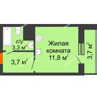 Студия 22,5 м², ЖК Космолет - планировка