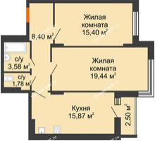 2 комнатная квартира 65,72 м² в Макрорайон Амград, дом №1 - планировка