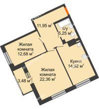 2 комнатная квартира 68,9 м², Дом премиум-класса Коллекция - планировка