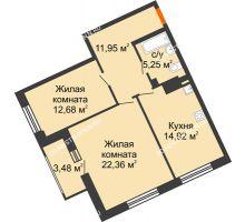 2 комнатная квартира 67,16 м², Дом премиум-класса Коллекция - планировка
