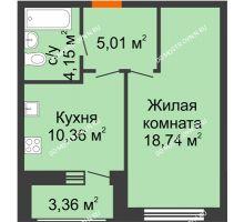 1 комнатная квартира 41,62 м² в ЖК Подкова на Гагарина, дом № 2