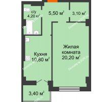 1 комнатная квартира 47,2 м² в ЖК Парк Островского 2, дом № 2 - планировка