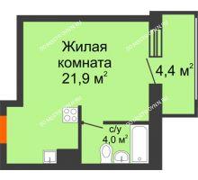Студия 28,1 м² в ЖК Подкова на Родионова, дом № 2 - планировка