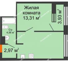 1 комнатная квартира 40,42 м² в ЖК Речной порт, дом № 6 - планировка