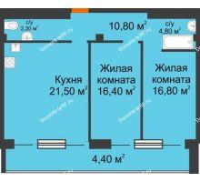 3 комнатная квартира 82,2 м², ЖК Art House - планировка