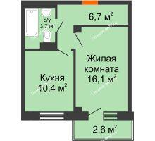 1 комнатная квартира 38,5 м², ЖД Подзолкова - планировка
