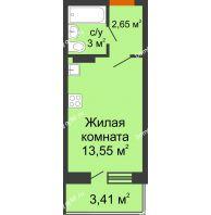 Студия 20,91 м² в ЖК Мандарин, дом 2 позиция 5-8 секция - планировка