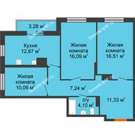 3 комнатная квартира 81,48 м² в ЖК Рассвет, дом № 10 - планировка