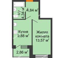 1 комнатная квартира 34,06 м² в ЖК Мандарин, дом 2 позиция 9,10 секция - планировка