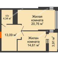 2 комнатная квартира 54,75 м² в ЖК Столичный, дом корпус А, блок-секция 1,2,3 - планировка