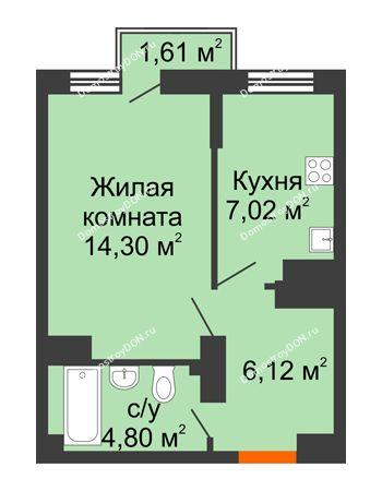 1 комнатная квартира 32,68 м² в ЖК Мечников, дом ул. Мечникова, 37