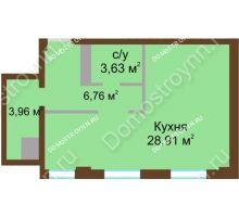 1 комнатная квартира 43,26 м² в ЖК Дом с террасами, дом № 1 - планировка