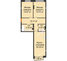 2 комнатная квартира 68,14 м², Клубный дом на Ярославской - планировка