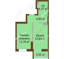 1 комнатная квартира 38,3 м² в ЖК Красная поляна, дом № 8