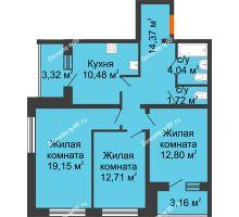 3 комнатная квартира 78,51 м², ЖК Вавиловский Дворик - планировка