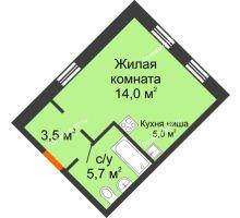 Студия 28,2 м² в Микрорайон Республика, дом ГП-3 - планировка