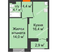 1 комнатная квартира 40,35 м² в ЖК Заречье, дом № 1, секция 1 - планировка