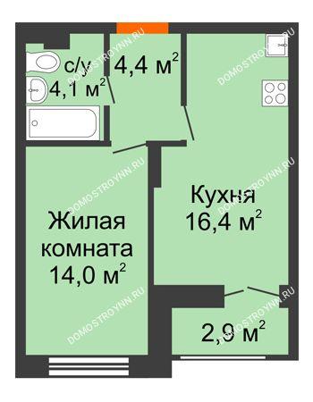 1 комнатная квартира 40,35 м² в ЖК Заречье, дом № 1, секция 1