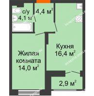 1 комнатная квартира 40,35 м² в ЖК Заречье, дом №1, секция 2 - планировка