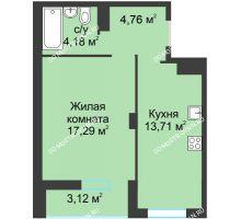 1 комнатная квартира 42,98 м² в ЖК На Вятской, дом № 3 (по генплану)