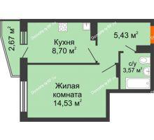 1 комнатная квартира 33,57 м², ЖК 9 Ярдов - планировка