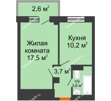 1 комнатная квартира 36,7 м², ЖД Подзолкова - планировка