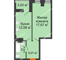1 комнатная квартира 43,1 м², ЖК Штахановского - планировка