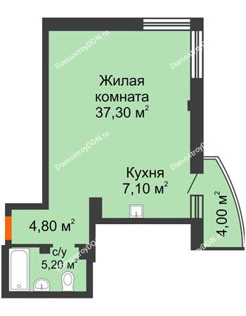 1 комнатная квартира 55,6 м² - ЖК Южная Башня