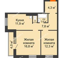 2 комнатная квартира 60,7 м² в ЖК Лесной массив, дом Строение 9 - планировка