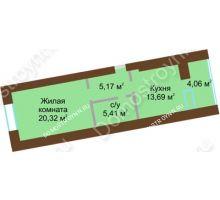 1 комнатная квартира 46,62 м² в ЖК Солнечный город, дом на участке № 214