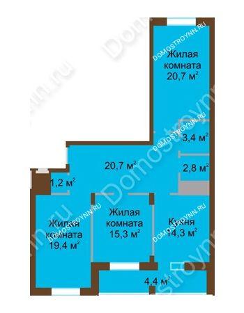3 комнатная квартира 102,3 м² в ЖК Монолит, дом № 89, корп. 1, 2