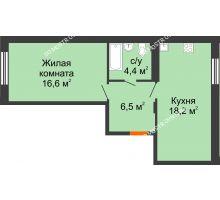 1 комнатная квартира 45,7 м² в ЖК Новая Кузнечиха, дом № 29 - планировка