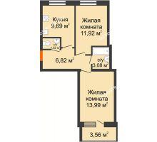 2 комнатная квартира 48,8 м² в ЖК АВИА, дом № 2 - планировка