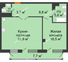 1 комнатная квартира 70,88 м² в ЖК Георгиевский, дом 6 - планировка