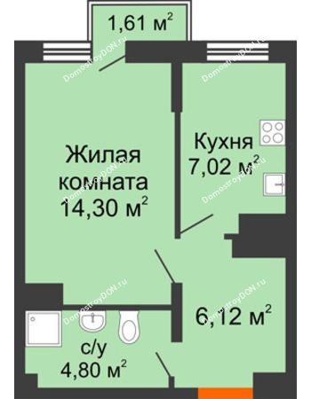 1 комнатная квартира 32,95 м² в ЖК Мечников, дом ул. Таврическая, 4
