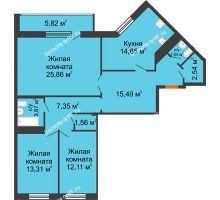 3 комнатная квартира 104,2 м², ЖК Новая Тверская - планировка