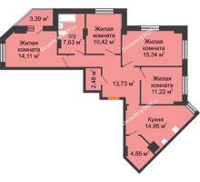 4 комнатная квартира 96,23 м² в ЖК Кристалл, дом Литер 1 - планировка