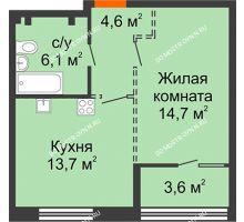 1 комнатная квартира 40,9 м², ЖК Лайнер на Барминской - планировка