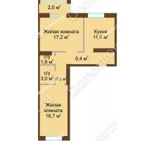 2 комнатная квартира 63,1 м² - Жилой дом: в квартале улиц Вольская-Витебская