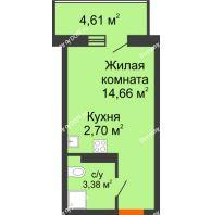 Студия 21,49 м² в ЖК Свобода, дом №2 - планировка