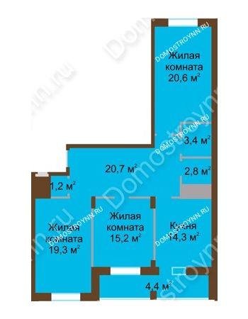 3 комнатная квартира 101,9 м² в ЖК Монолит, дом № 89, корп. 1, 2