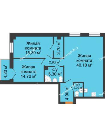 3 комнатная квартира 91,4 м² - ЖК Дом на 18-й Линии, 3
