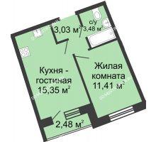 1 комнатная квартира 34,51 м² в ЖК Ватсон, дом № 4 - планировка