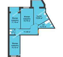 3 комнатная квартира 92,79 м² в ЖК Бунина парк, дом 3 этап, блок-секция 3 С - планировка
