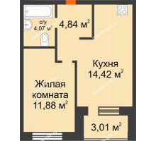 2 комнатная квартира 36,72 м² в ЖК Квартал на Московском, дом Альфа - планировка