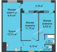 3 комнатная квартира 55,54 м² в ЖК Оникс, дом Литер 4 - планировка
